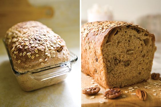 """Whole Wheat Sandwich Loaf with Oats and Pecans ~ via this blog, """"Yummy Workshop""""."""