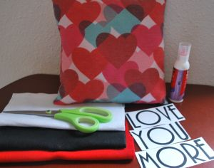Create a personalised pillow for valentines day! All you need is a Valentine pillow, felt of your choice, printed words or stencil, scissors, and fabric glue.