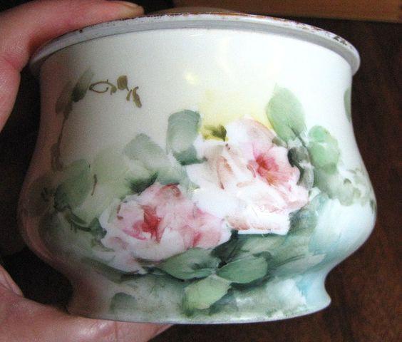 Antique GDA Limoges Porcelain Box Hand, Painted Roses!
