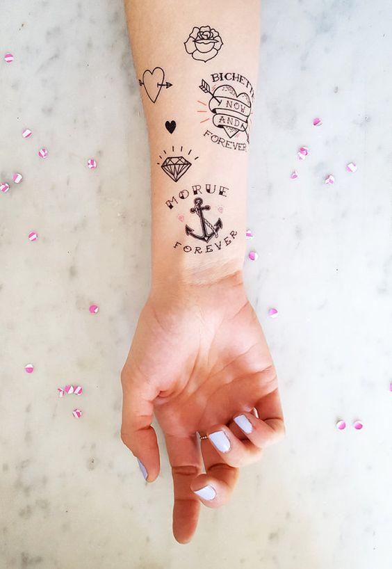Planche de 9 tatouages éphémères : Morue Forever, Poulette For Life, Cagole ever…