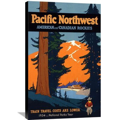 Global Gallery 'Pacific Northwest' by Oscar M. Bryn Vintage Advertisement on Wrapped Canvas Size: