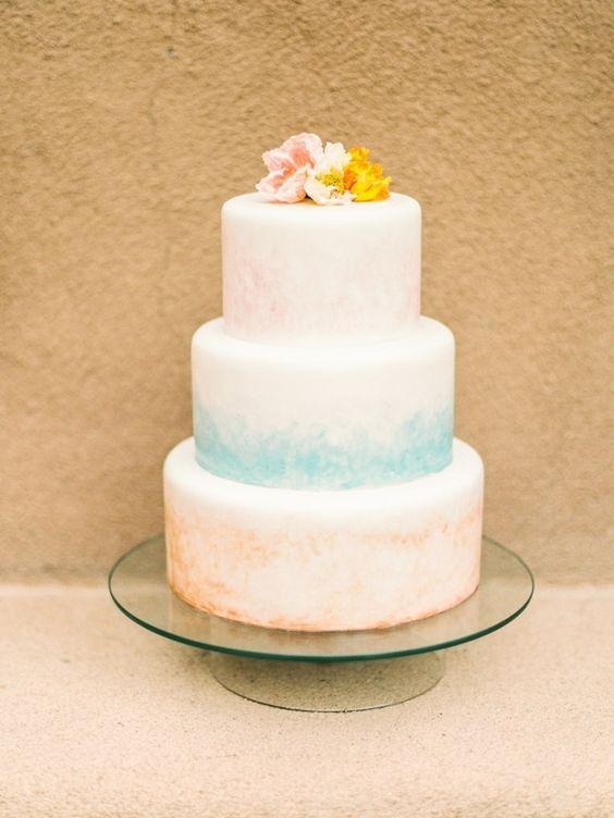 The prettiest watercolor cake: http://www.stylemepretty.com/little-black-book-blog/2015/09/04/enchanting-desert-wedding-inspiration/ | Photography: Lisa O'Dwyer - http://www.lisaodwyer.com/