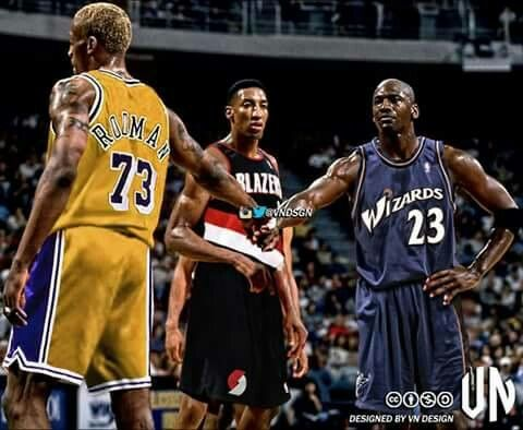 Rodman as a Laker, Pippen as a Trailblazer, and the GOAT as a Wizard.