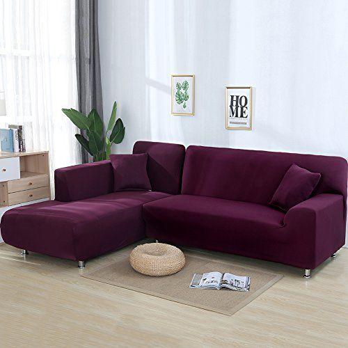 Cjc Premium Quality Sofa Covers For L Shape 2pcs Polyester Fabric
