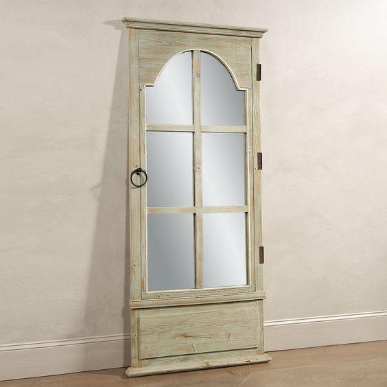 Bassett Mirror M3272 Antique Clear Pine Door Floor Mirror