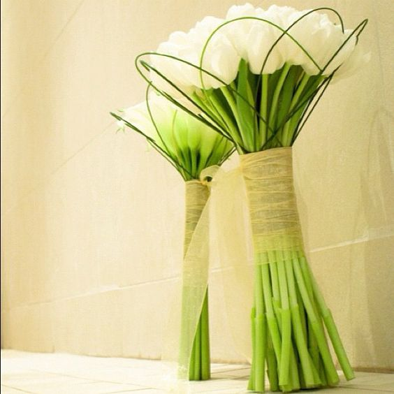 tulip wedding flower bouquet, bridal bouquet, wedding flowers, add pic source on comment and we will update it. www.myfloweraffair.com can create this beautiful wedding flower look.: