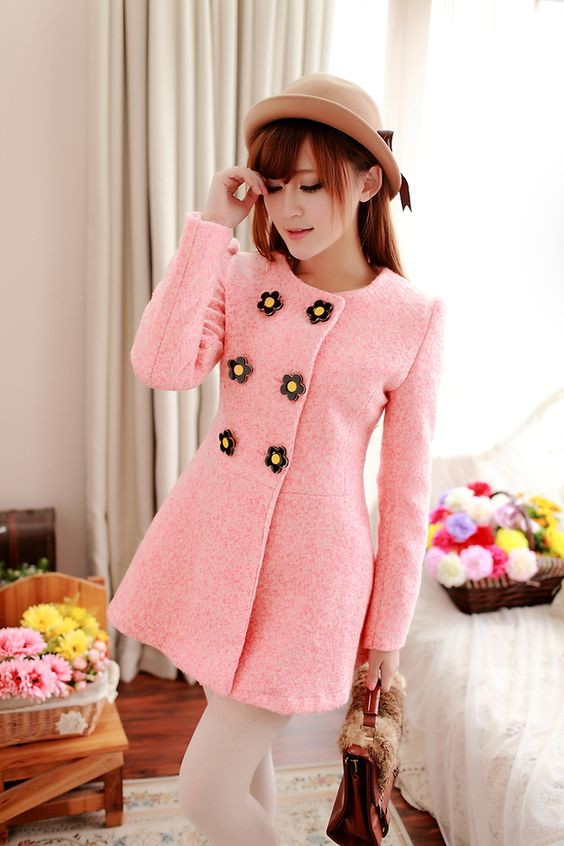 Cute Double Breasted Winter Coat with Floral Button