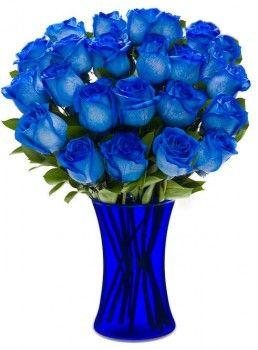 cobalt vase flowers: