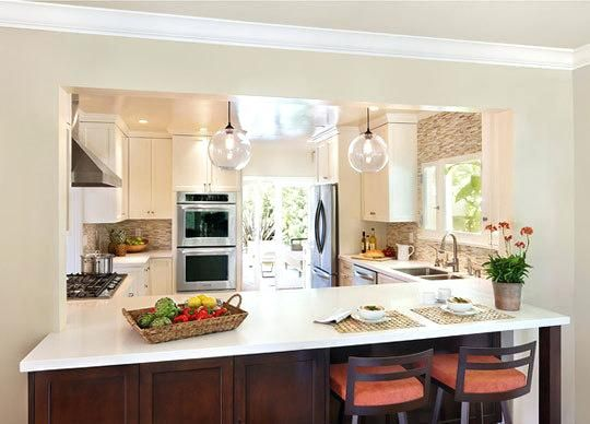 Half Wall Between Kitchen And Dining Room Breakfast Bar Lighting Ideas On How To Build A K Living Room Kitchen Kitchen Design Open Open Kitchen And Living Room