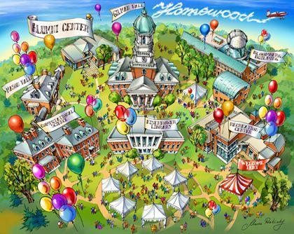 Johns Hopkins University campus map illustration