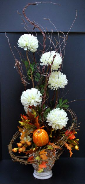 A c moore fall 2012 floral lighted branches arrangement for Floral arrangements with branches