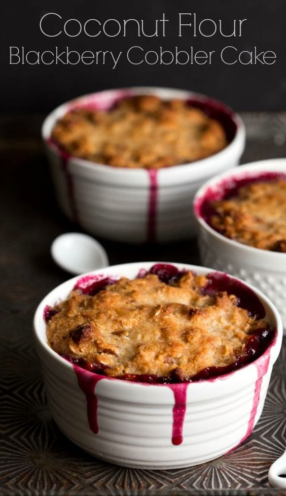 Coconut Flour Blackberry Cobbler Cake is made with healthier ...