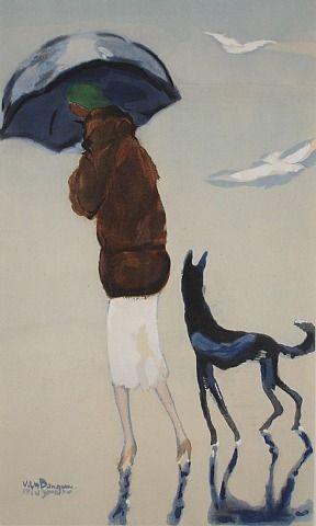 Femme et chien dans la plage by Kees van Dongen