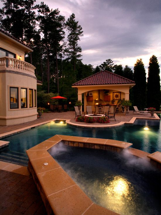 Awesome swimming pool hot tub firepit seating area outdoor kitchen cabana and umbrella table - Outdoor house pools ...
