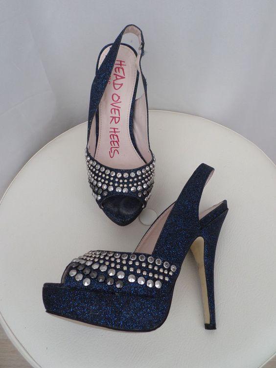 Dune Head Over Heels GOrgeous BLue Glitter/Studded High Peeptoe Shoes  3