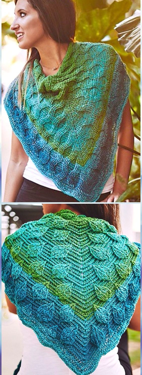 Crochet Embossed Leaves Reversible Shawl Free Pattern - Crochet Women Shawl Sweater Outwear Free Patterns