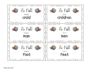 Go fish for irregular plural nouns first grade teaching for Plural of fish