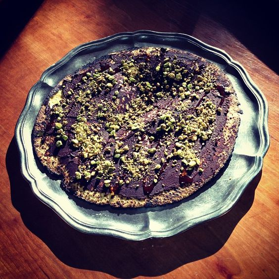 #matza with chocolate ganache, roasted pistachios and honey