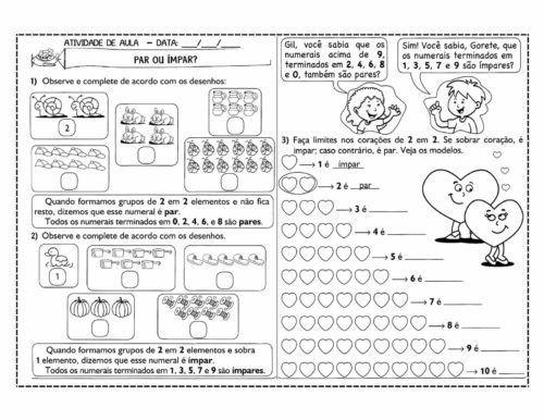 Atividades Numeros Pares E Numeros Impares De Matematica Par E