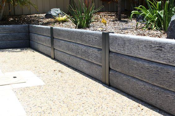 Ridgi Gumtree Concrete Sleeper Steel Post Retaining Wall Available At Bunni Concrete Sleeper Retaining Walls Concrete Retaining Walls Concrete Garden Edging