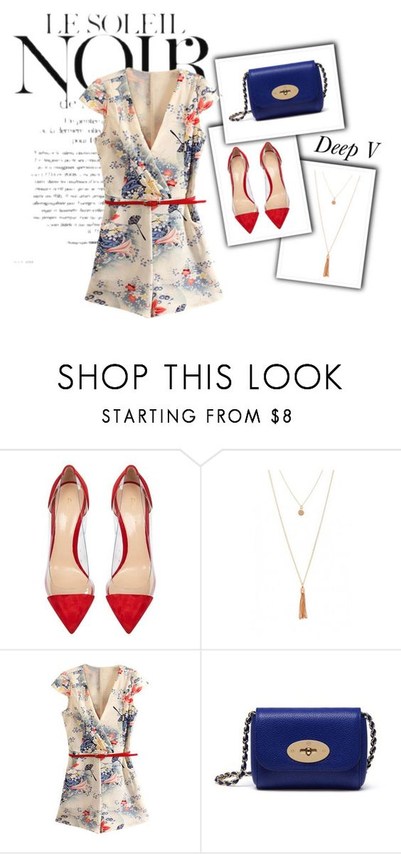 """Chic Deep V - Neck"" by sieratrujillo on Polyvore featuring Marc Jacobs, Gianvito Rossi, Mulberry, SoChic and summer2016"