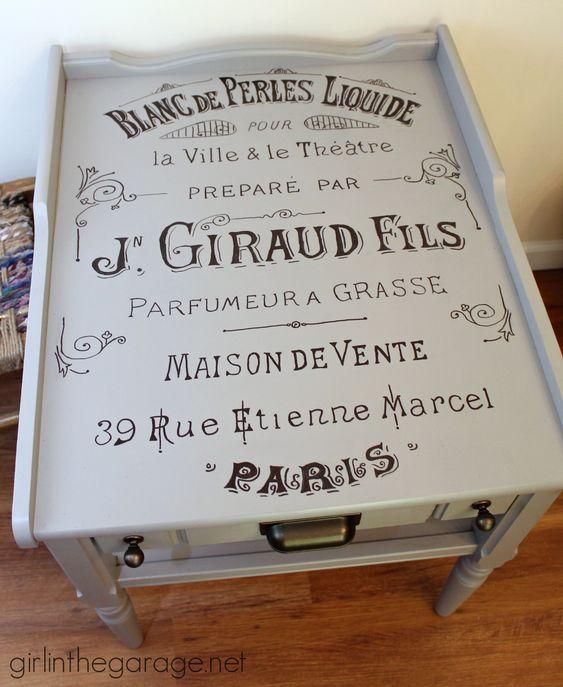 Tabelas propaganda francesa do vintage - menina na Garagem