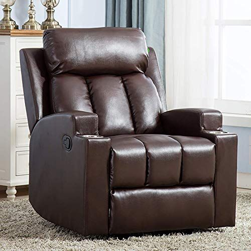 New Anj Chair Recliner Contemporary Theater Recliner 2 Cup Holders