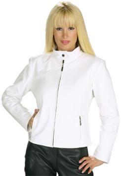 Ladies Short Zipper White Leather Jacket | Women&39s Jackets
