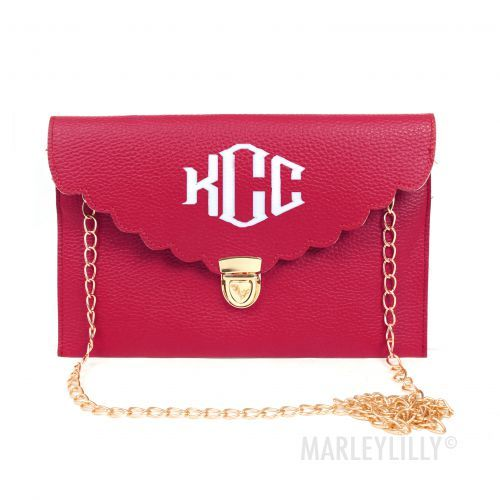 Monogrammed Scalloped Luxe Cross Body Clutch