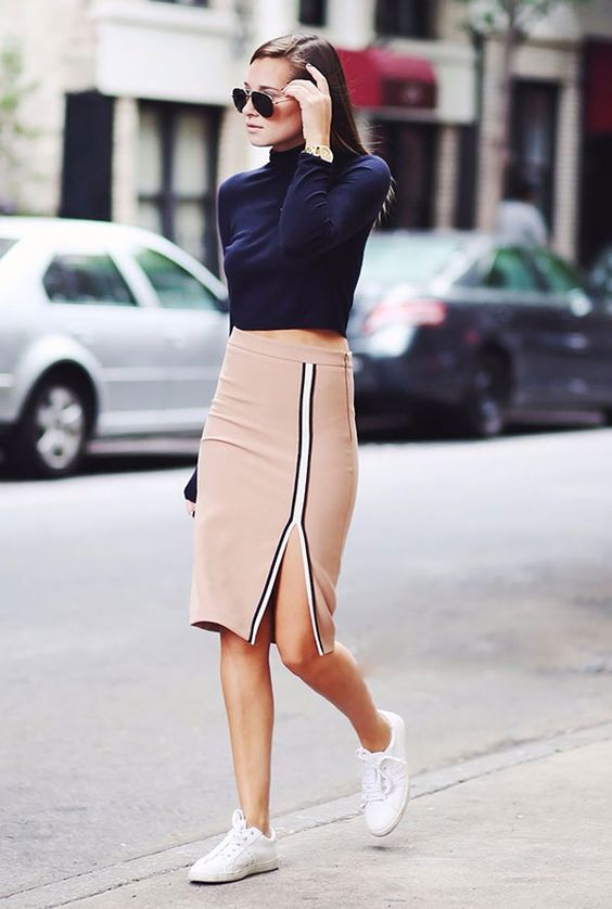 look top turtleneck pencil skirt street style: