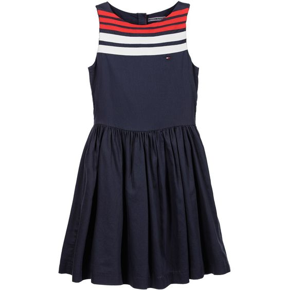 Tommy Hilfiger Navy Blue Cotton Dress with Red & White Ribbon at Childrensalon.com