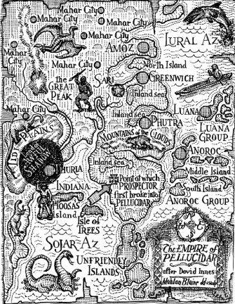 Map of Pellucidar from the writings of Edgar Rice Burroughs