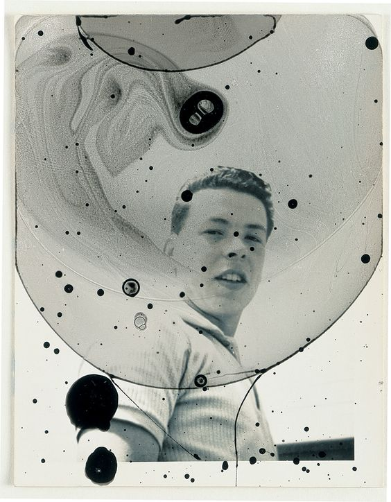 Anna Barriball - ink and bubble mixture on found photograph