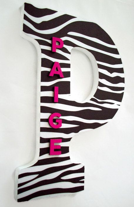 Zebra Print Wood Letters  Zebra Wall Letter  by cathyscraftycovers