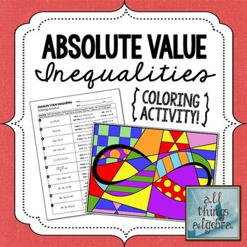 absolute value inequalities coloring activity includes interval notation activities colors. Black Bedroom Furniture Sets. Home Design Ideas