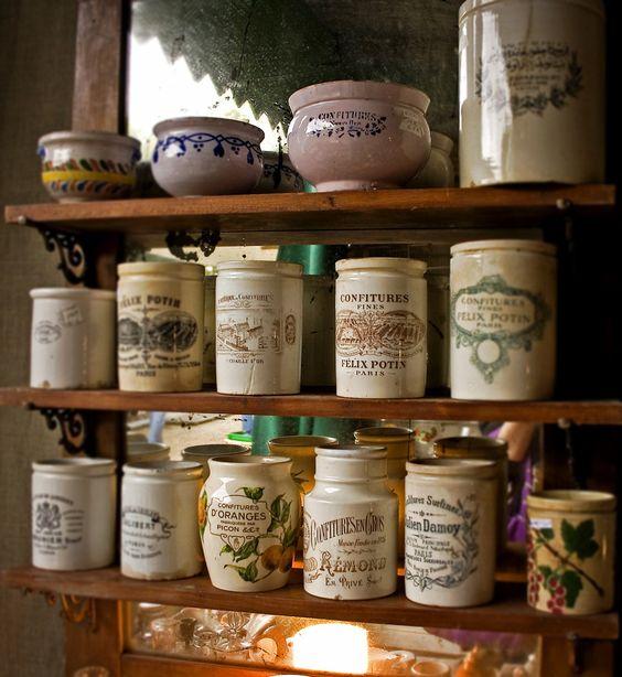 Vintage French crockery jam jars (Pots de Confiture) --- check out www.rubylane.com to see authentic vintage examples for sale @rubylanecom