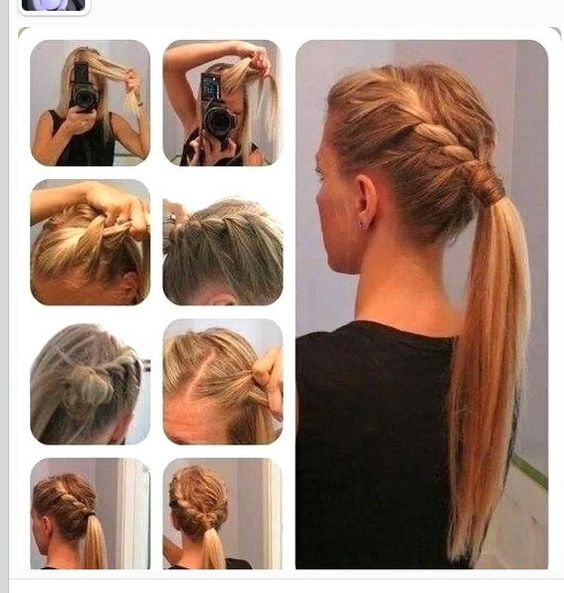 plait hair style updo twists and side braid ponytail on 5053