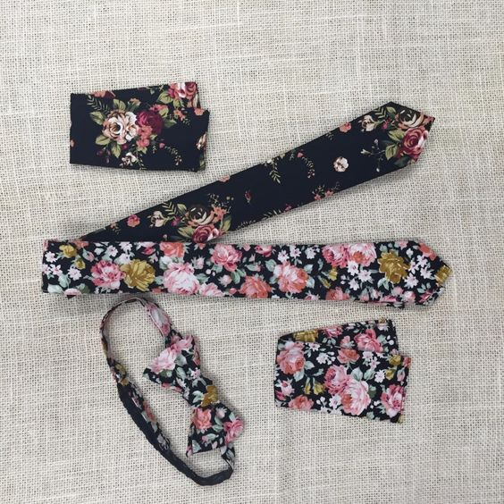 Floral ties are the perfect wedding accessory for an outdoor wedding venue.
