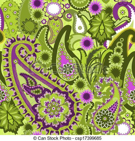 Vector - Paisley Colorful Background. - stock illustration, royalty free…