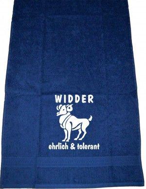 Widder – ehrlich & torlerant; Handtuch | ShirtShop-Saar.de