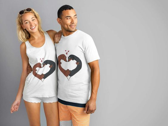 daschshund love tshirt couples ONLY $15.00
