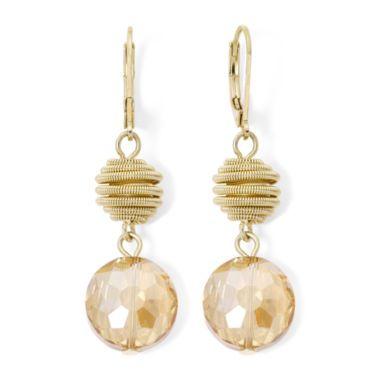 <p>Combining iridescent glass stones with textured metal beads, these earrings will add some shimmer and shine to your look.</p><p>Metal: Gold-tone metal<br />Stones: Glass stones<br />Back: Leverback<br />Dimensions: 0.65x2