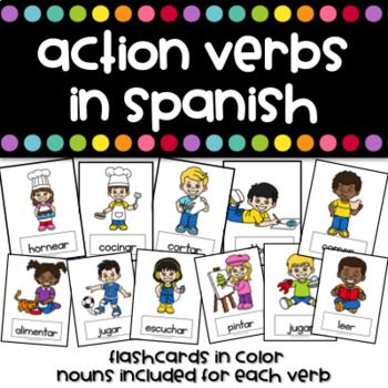 Action Verbs in Spanish Flashcards - Verbos Action verbs - action verbs resume