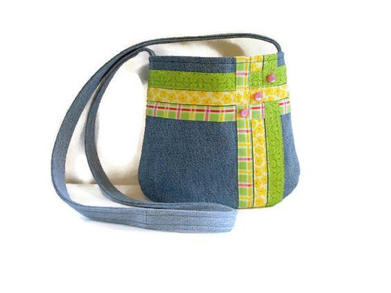 Small Upcycled Denim Crossbody Bag Pastel by SuzqDunaginDesigns, $45.00