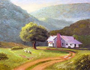 Tennessee Sheep Farm by Tommy Thompson Oil ~ 16 x 20