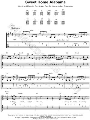 Sweet Home Alabama Guitar Tab-D