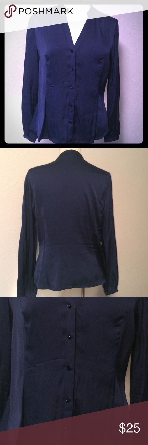 Ann Taylor button up blouse Super soft and silky navy blouse Ann Taylor fitted blouse. In excellent preowned condition. Ann Taylor Tops Blouses