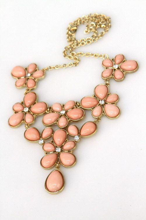 pink floral bib necklace $21