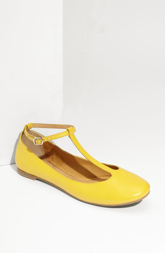 Yellow t-strap flats by Chloe...