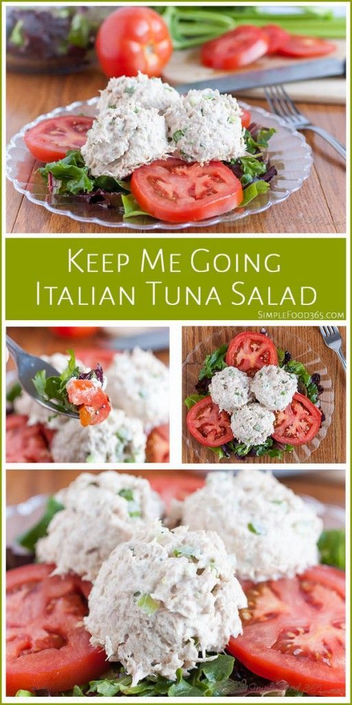 Are you looking for a lite and flavorful lunch that takes just a few minutes to make? Check out this Italian Tuna Salad! Fresh greens, tomatoes, some italian dressing, and some tuns is all it takes! Come get the recipe! | http://SimpleFood365.com
